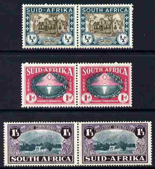 South Africa 1939 Huguenot set of 6 (3 se-tenant pairs) in fine mounted mint horiz pairs, SG 82-84