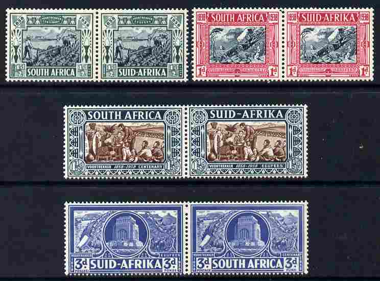 South Africa 1938 Voortrekker Mem Fund set of 4 in horiz pairs, one 1/2dd is creased otherwise fine unmounted mint, SG76-79