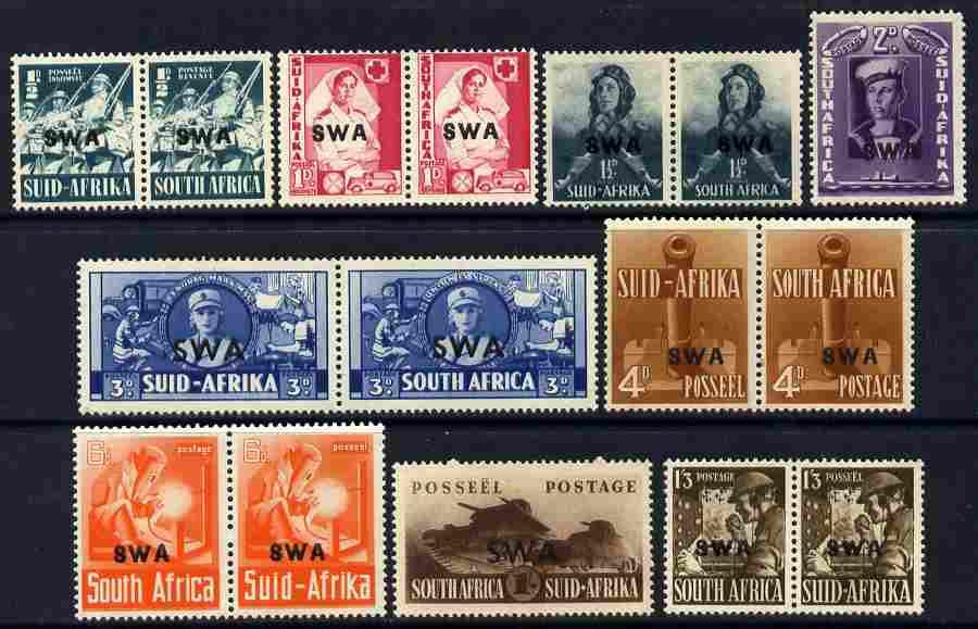South West Africa 1941-43 War Effort complete set 1/2d to 1s in appropriate singles or pairs fine mounted mint, SG 114-20
