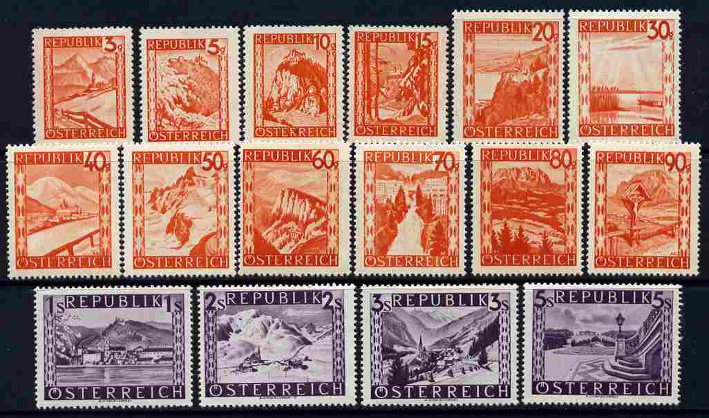 Austria 1947-48 Revaluation pictorial set of 16 values unmounted mint, SG 1072-86a