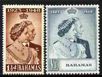 Bahamas 1948 KG6 Royal Silver Wedding perf set of 2 mounted mint, SG 194-5