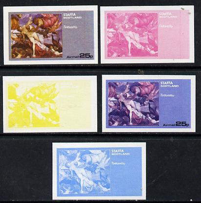 Staffa 1974 Paintings of Nudes  25p (Tintoretto) set of 5 imperf progressive colour proofs comprising 3 individual colours (red, blue & yellow) plus 3 and all 4-colour composites unmounted mint