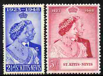 St Kitts-Nevis 1949 KG6 Royal Silver Wedding perf set of 2 unmounted mint, SG 80-81