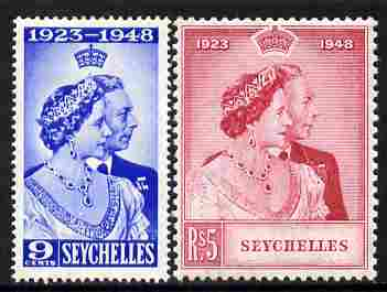 Seychelles 1948 KG6 Royal Silver Wedding perf set of 2 mounted mint, SG 152-3