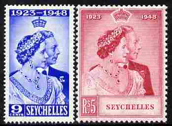 Seychelles 1948 KG6 Royal Silver Wedding perf set of 2 unmounted mint, SG 152-3