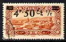 Syria 1926 4p50 on 0p75 brown-red fine used single with