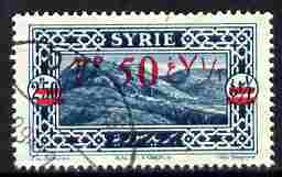 Syria 1928 7p50 on 2p50 light blue, fine used single with