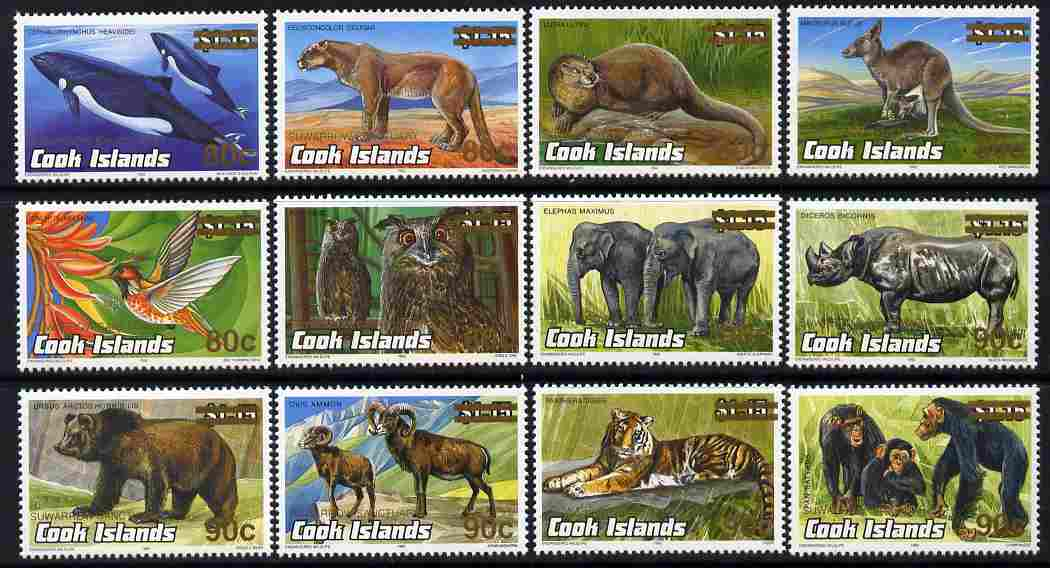 Cook Islands 2001 Suwarrow Sanctuary overprint and surcharge on Animals  set of 12 unmounted mint SG 1443-54