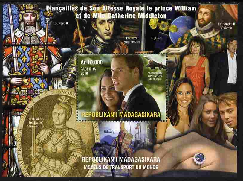 Madagascar 2010 Royal Engagement - William & Kate #2 perf s/sheet unmounted mint. Note this item is privately produced and is offered purely on its thematic appeal