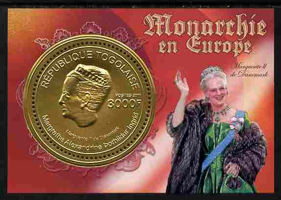 Togo 2011 European Monarchs - Margrethe II of Denmark perf s/sheet (gold foil) unmounted mint