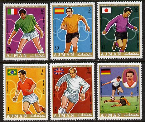 Ajman 1970 World Cup Football set of 6 unmounted mint (Mi 525-30A)