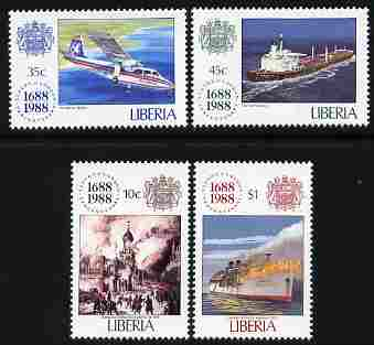 Liberia 1988 300th Anniversary of Lloyd's of London perf set of 4 unmounted mint SG 1708-11