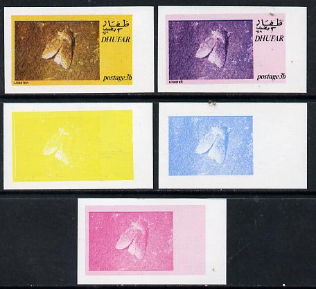 Dhufar 1974 Moths 3b (Lobster) set of 5 imperf progressive colour proofs comprising 3 individual colours (red, blue & yellow) plus 3 and all 4-colour composites unmounted mint