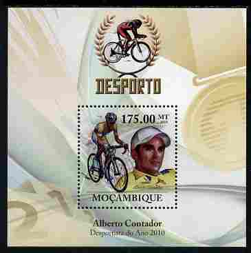Mozambique 2010 Sport - Cycling (Alberto Contador) perf m/sheet unmounted mint, Scott #2039