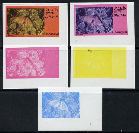 Dhufar 1974 Moths 4b (Cinnabar) set of 5 imperf progressive colour proofs comprising 3 individual colours (red, blue & yellow) plus 3 and all 4-colour composites unmounted mint