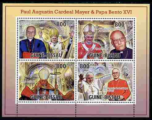 Guinea - Bissau 2010 Cardinal Paul Mayer & Pope Benedict perf sheetlet containing 4 values unmounted mint, Michel 5200-5203