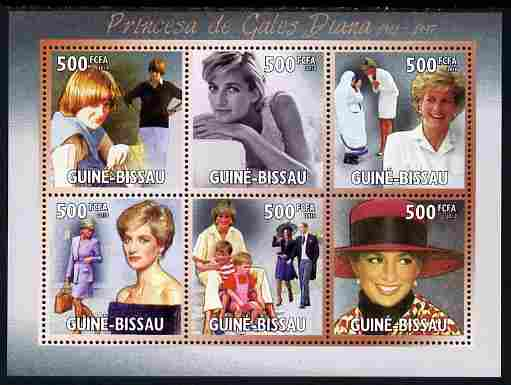 Guinea - Bissau 2010 Princess Diana perf sheetlet containing 6 values unmounted mint, Michel 5120-25