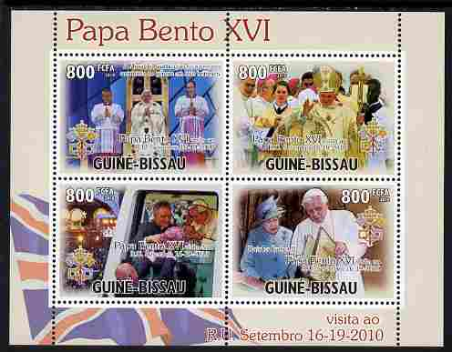 Guinea - Bissau 2010 Pope Benedict in England perf sheetlet containing 4 values unmounted mint, Michel 5205-08
