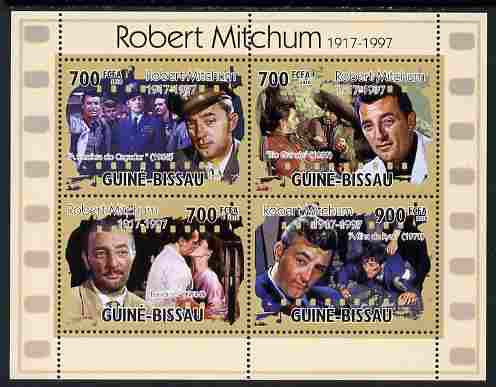 Guinea - Bissau 2010 Actors - Robert Mitchum perf sheetlet containing 6 values unmounted mint, Michel 5195-98