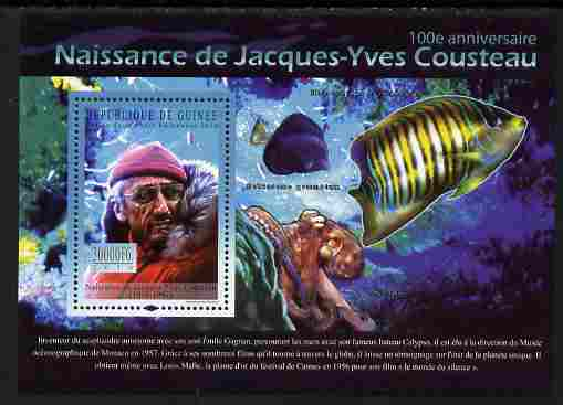 Guinea - Conakry 2010 Birth Anniversary of Jacques Cousteau perf s/sheet unmounted mint, Michel BL 1850