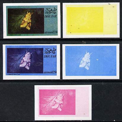 Dhufar 1974 Moths 25b (Common Swallow) set of 5 imperf progressive colour proofs comprising 3 individual colours (red, blue & yellow) plus 3 and all 4-colour composites unmounted mint