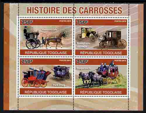 Togo 2010 History of Carriages (Coaches) perf sheetlet containing 4 values unmounted mint, Yvert 2320-23