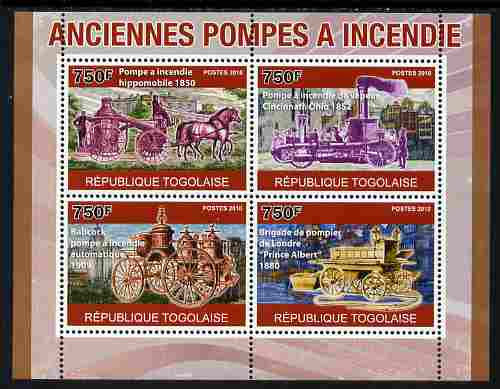 Togo 2010 Old Fire Engines perf sheetlet containing 4 values unmounted mint, Yvert 2336-39