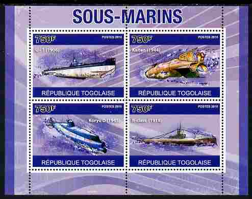 Togo 2010 Submarines perf sheetlet containing 4 values unmounted mint, Yvert 2352-55
