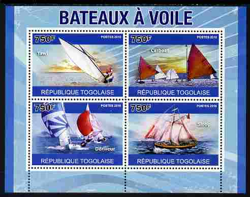 Togo 2010 Sailing Ships perf sheetlet containing 4 values unmounted mint, Yvert 2360-63