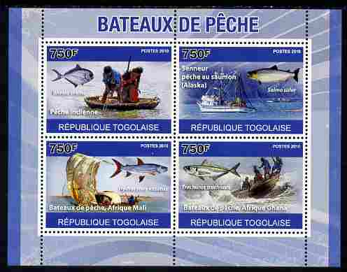 Togo 2010 Fishing Boats perf sheetlet containing 4 values unmounted mint, Yvert 2364-67