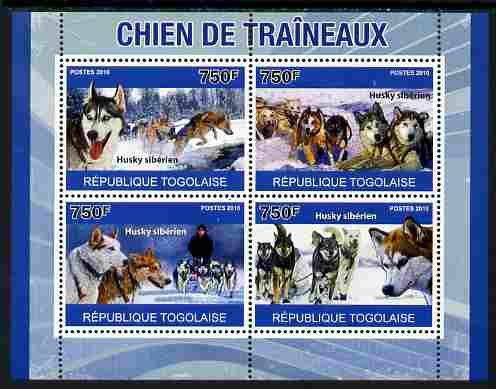 Togo 2010 Sled Dogs perf sheetlet containing 4 values unmounted mint, Yvert 2372-75