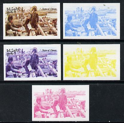 Oman 1974 Napoleon 2b (N at Island of Lobau) set of 5 imperf progressive colour proofs comprising 3 individual colours (red, blue & yellow) plus 3 and all 4-colour composites unmounted mint