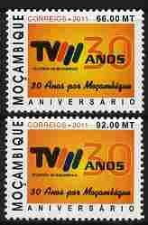 Mozambique 2010 30th Anniversary of Television perf set of 2 unmounted mint
