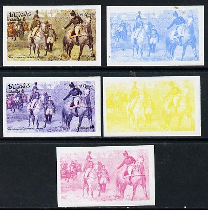 Oman 1974 Napoleon 4b (N & Alexander at Erfurt) set of 5 imperf progressive colour proofs comprising 3 individual colours (red, blue & yellow) plus 3 and all 4-colour composites unmounted mint