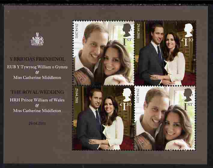 Great Britain 2011 Royal Wedding - Prince William & Kate perf m/sheet containing 4 values unmounted mint