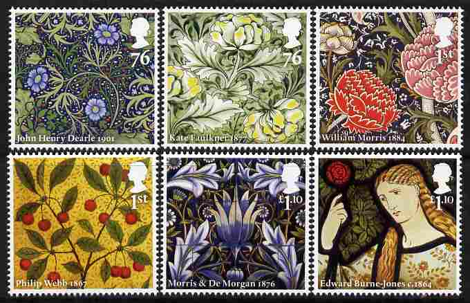 Great Britain 2011 William Morris & Co - Fabric Designer perf set of 6 values unmounted mint