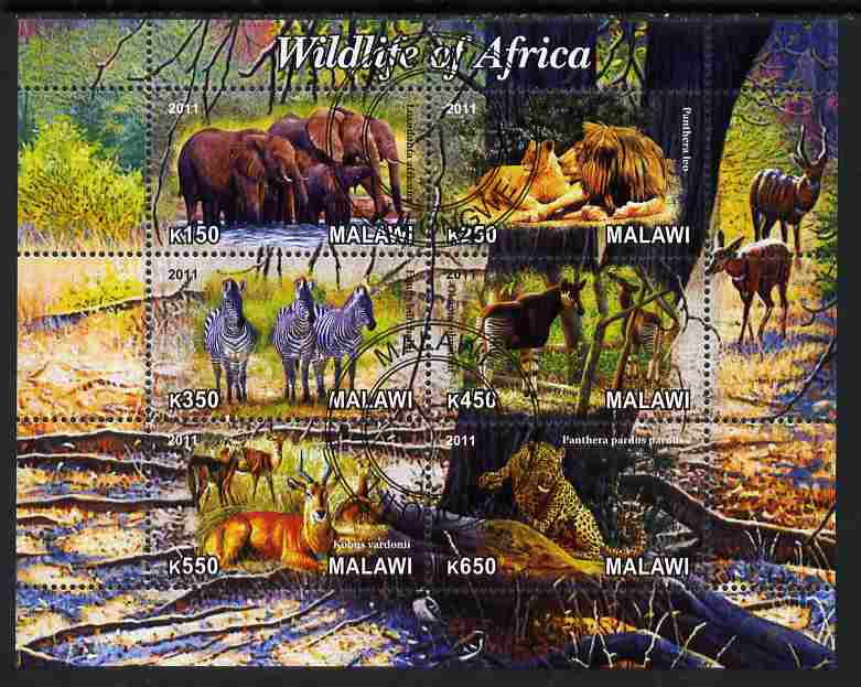 Malawi 2011 Wildlife of Africa #1 perf sheetlet containing 6 values cto used