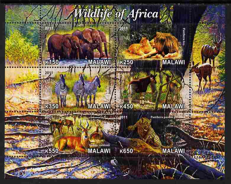 Malawi 2011 Wildlife of Africa #1 perf sheetlet containing 6 values unmounted mint