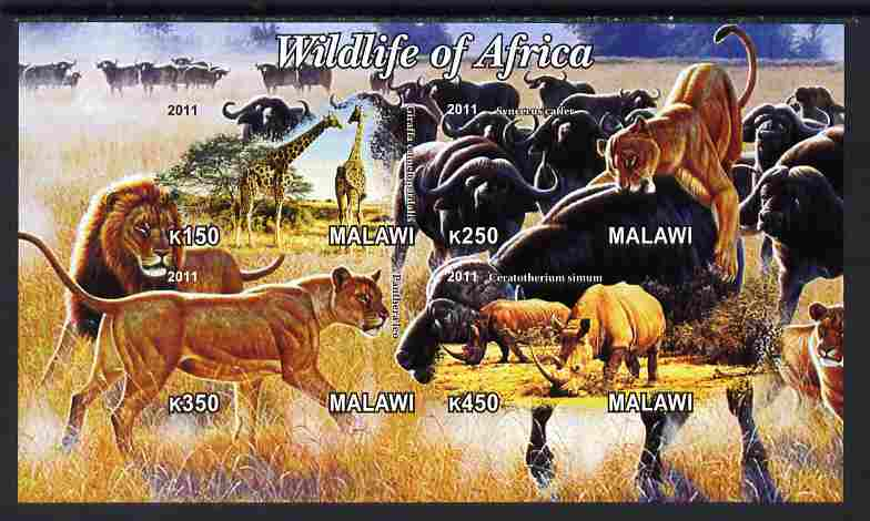 Malawi 2011 Wildlife of Africa #2 imperf sheetlet containing 4 values unmounted mint