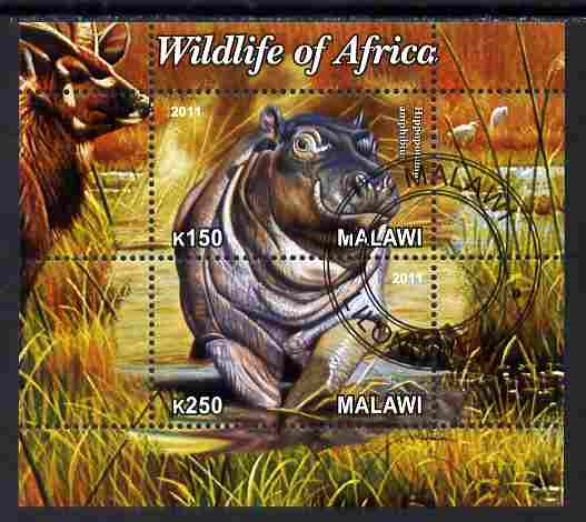 Malawi 2011 Wildlife of Africa #3 - Hippos composite perf sheetlet containing 2 values cto used
