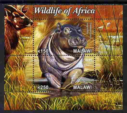 Malawi 2011 Wildlife of Africa #3 - Hippos composite perf sheetlet containing 2 values unmounted mint