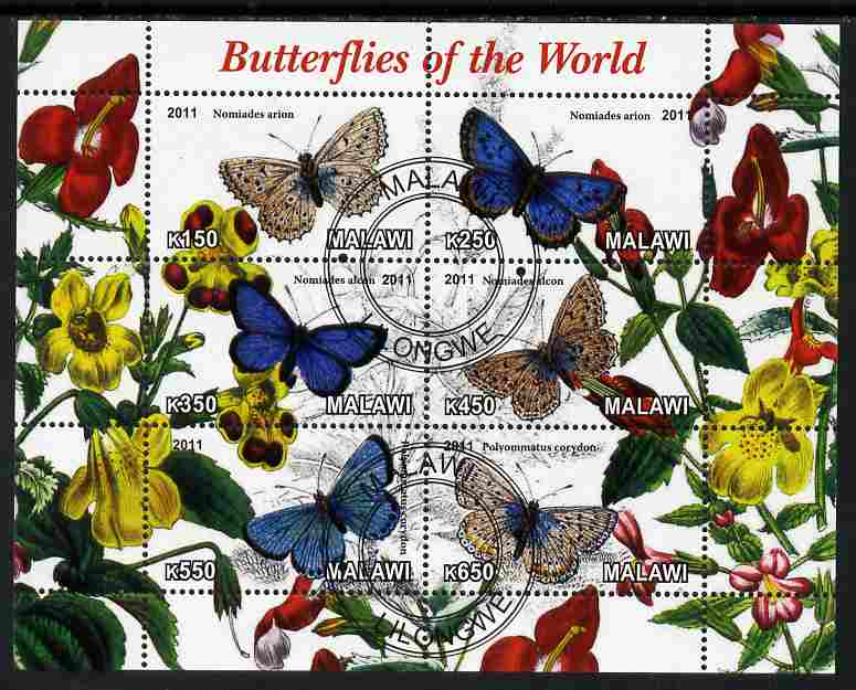 Malawi 2011 Butterflies of the World #1 perf sheetlet containing 6 values cto used