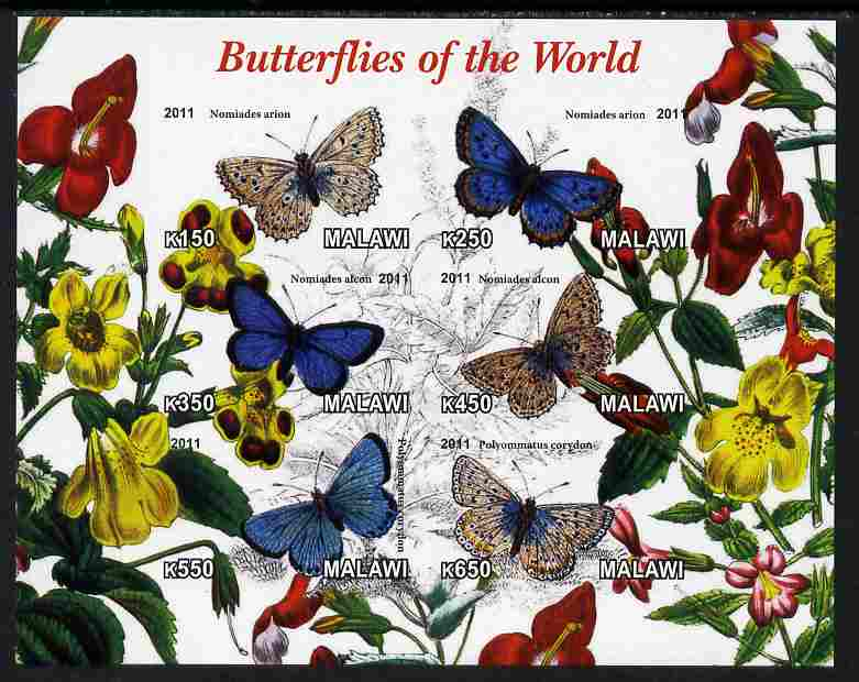 Malawi 2011 Butterflies of the World #1 imperf sheetlet containing 6 values unmounted mint