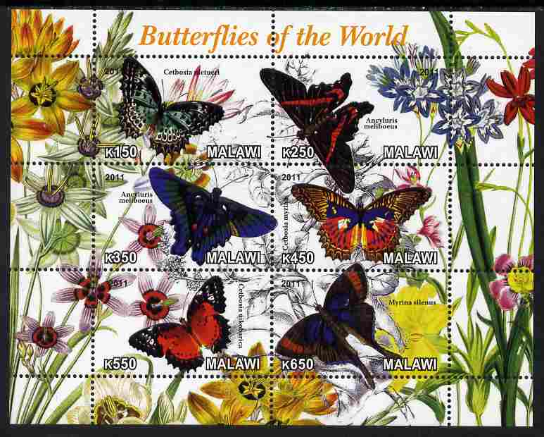 Malawi 2011 Butterflies of the World #2 perf sheetlet containing 6 values unmounted mint
