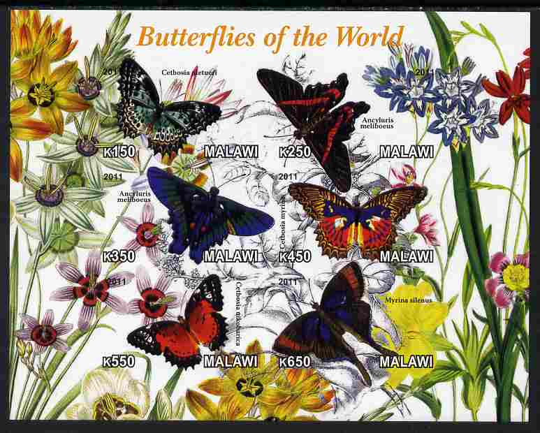 Malawi 2011 Butterflies of the World #2 imperf sheetlet containing 6 values unmounted mint