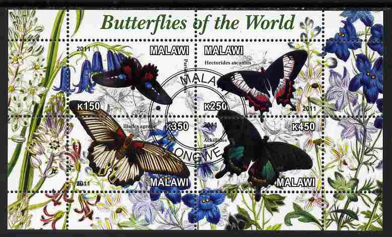 Malawi 2011 Butterflies of the World #3 perf sheetlet containing 4 values cto used