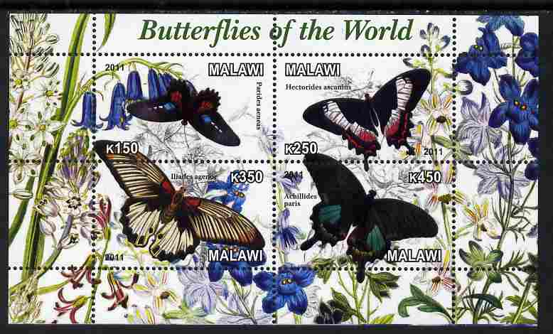 Malawi 2011 Butterflies of the World #3 perf sheetlet containing 4 values unmounted mint