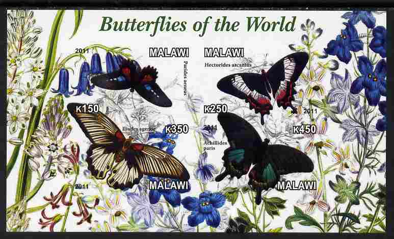 Malawi 2011 Butterflies of the World #3 imperf sheetlet containing 4 values unmounted mint