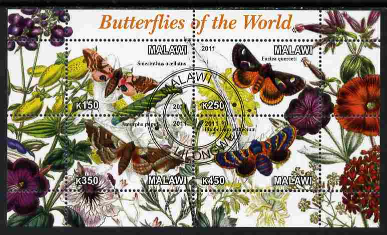 Malawi 2011 Butterflies of the World #4 perf sheetlet containing 4 values cto used