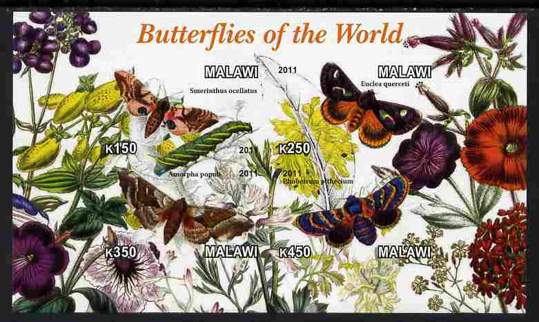 Malawi 2011 Butterflies of the World #4 imperf sheetlet containing 4 values unmounted mint